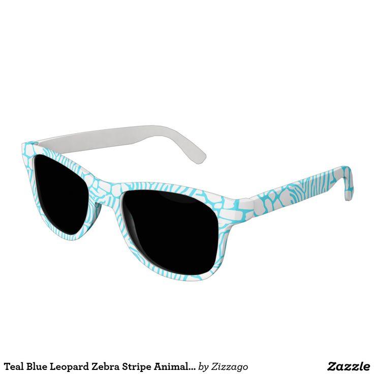 Teal Blue Leopard Zebra Stripe Animal Print Sunglasses