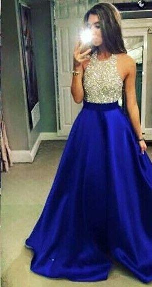 Halter Beading Bodice Satin Pocket Prom Dress
