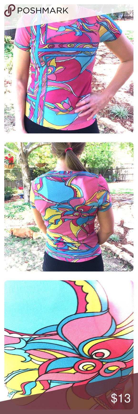 Karen Kane t-shirt Vibrant colors design this stretchy polyester fabric t-shirt. It looks like a size small on the hangar, but this cute and comfy (fitted) xl top stretches on the body. Karen Kane Tops Tees - Short Sleeve