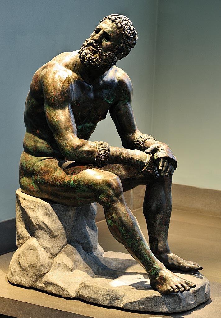 Бронзовая скульптура отдыхающего боксёра, I в. до н. э.
