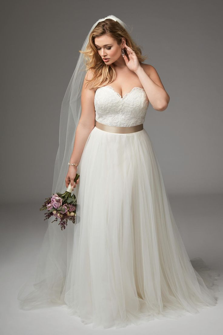 WTOO 13704 Agatha Strapless A-line Plus Measurement Bridal Gown