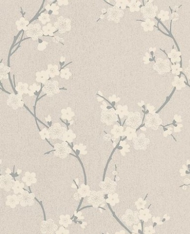 Cherry Blossom (19888) - Graham and Brown Wallpapers - A pretty oriental inspired cherry blossom design on a textured background. Shown here in beige on grey with individual flowers highlighted with silver glitter. Please request a sample for true colour match.