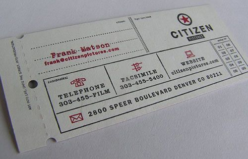 Ticket business card.