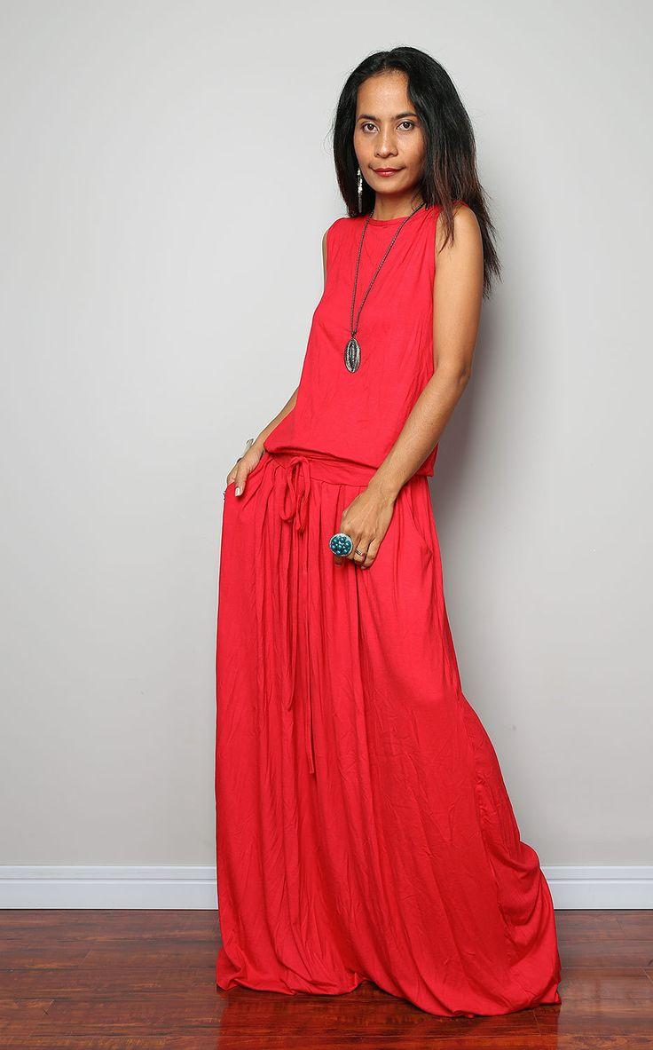 Vestido rojo de Maxi  vestido sin mangas: otoño emociones
