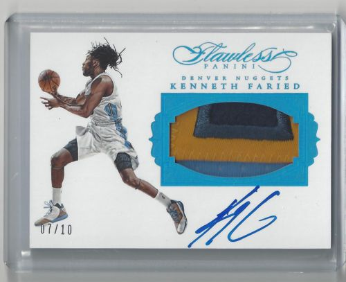 2015-16 Flawless KENNETH FARIED Sapphire 4 Clr patch & Autograph *7/10*, Nuggets