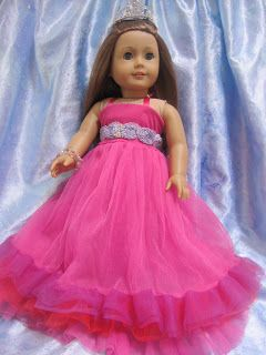 Using girls tulle skirt and making an 18 in doll ballgown - tutorial