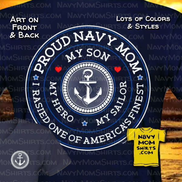 Proud Navy Mom Shirts - My Son My Hero My Sailor Shirts at NavyMomShirts.com
