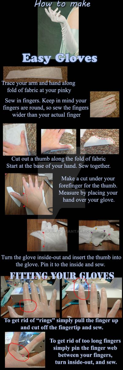 "A new tutorial for everyone, How to make easy gloves! A girl at a convention asked me if I made my own gloves and when I told her ""yes"" she wanted to know if I could make a ""how to"". So here it is!..."