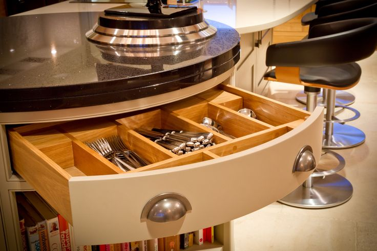 The kitchen has a multitude of bespoke features. Here the handcrafted drawer unit shows the attention to detail