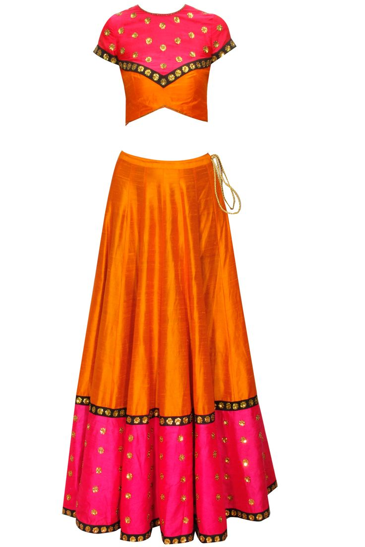 Orange embroidered lehenga set with pink blouse and black dupatta available only at Pernia's Pop-Up Shop.