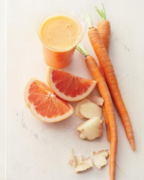 Grapefruit, Carrot, and Ginger Juice: This zesty breakfast tonic delivers a blast of immunity-boosting vitamin C & enough fiber to sustain you until your first snack, Wholeliving.com