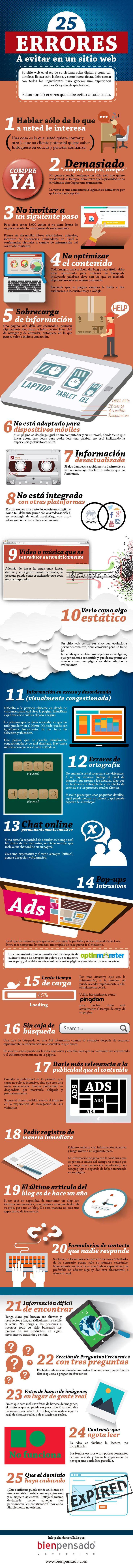 25 errores a evitar en un sitio web #infografia #infographic #marketing