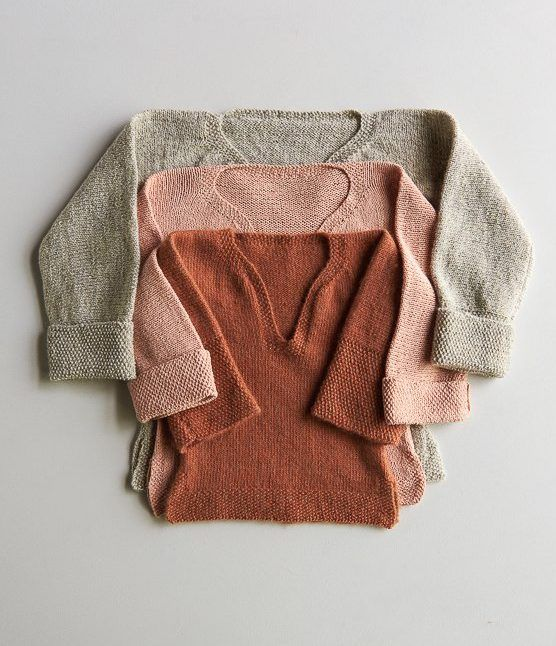 Free Knitting Pattern for Easy Pullover for Babies, Toddlers + Kids - This classic sweater design features a T-shape, long sleeves that can be rolled up, a wide neck opening, and a loose fit. Designed by Purl Soho who rates the design easy. Sizesto fit most 12 month (2, 4, 6) year olds