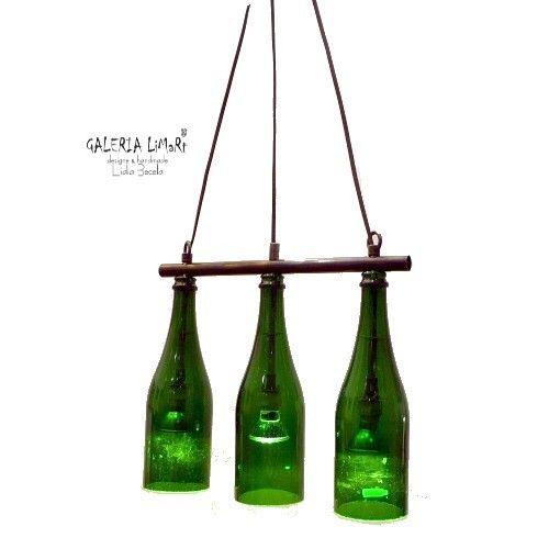 Eco lamp made by Mariusz Becela of 3  hand-cut glass bottles // Lampa eko z 3 szklanych własnoręcznie pociętych  butelek