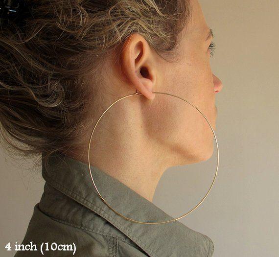 Rose Gold Filled Hoop Earrings Large 3 Inch Hoops Lightweight Round Earrings Fashion Jewelry