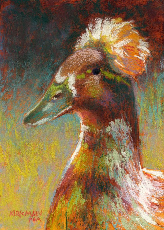 """""""Donald"""" (pastel, 7x5 inches)  click here to bid: http://www.dailypaintworks.com/buy/auction/621345  Day 11 in my 30-Paintings-in-30-Days of November.  This duck is no relation to any current politician. Any resemblance is purely coincidental. This is actually what is called a crested duck. The fluffy head is part of their particular uniqueness, and is a result of a genetic mutation. These ducks can have a variety of colorings.  See progress shots on my blog…"""