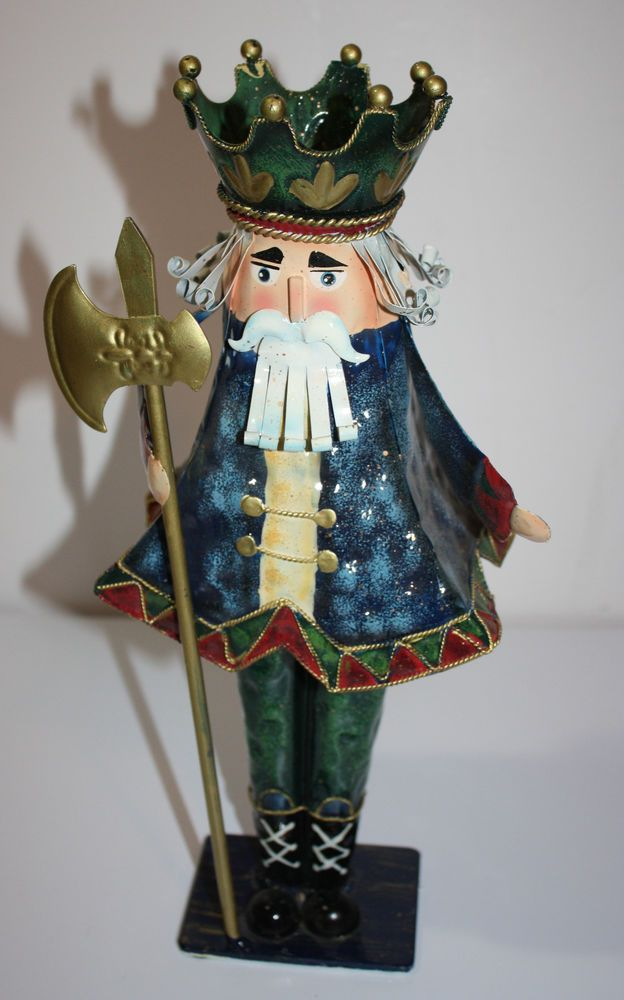 Metal soldier figure nutcracker christmas beard hair