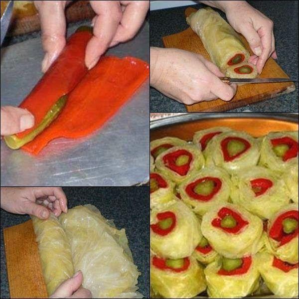 Dekorativna salata od kupusa krastavaca i paprika