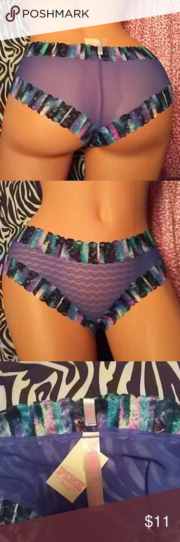 💥SALE💥NWT💜PINK Sheer & Lace panties SALE PRICE IS FIRM 💞PROCEEDS TO HAVEN HOUSE FOR BATTERED WOMEN❗ NO TRADES❗ PINK Sheer and zig-zag mesh panties with multi colored lace trim. Style is low rise cheekster size medium. 💰Bundle 3 or more of the items out of My Closet, and save 25%!  THANK YOU 💕🙋💕 PINK Victoria's Secret Intimates & Sleepwear Panties