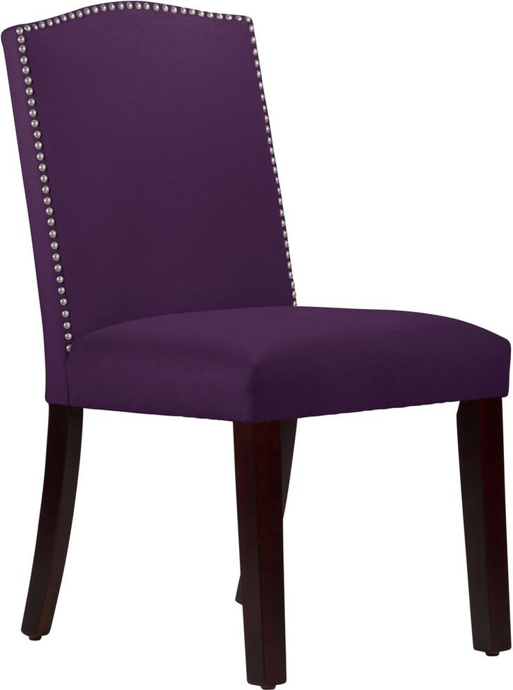 Transitional Dining Chair Nail Button Arched Upholstered Velvet Seat Furniture #SkylineFurniture #Transitional #Dining #Chair #Seat #Furniture