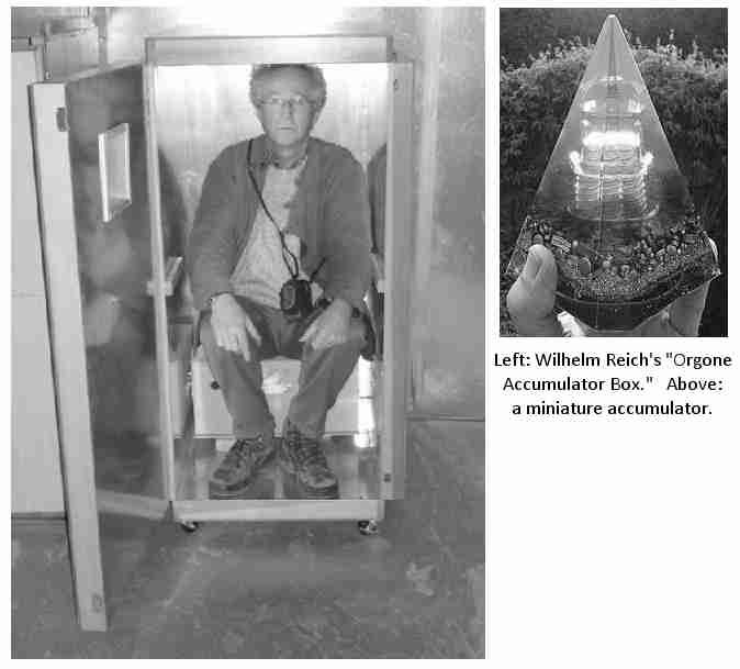 """COVERT SCIENCE-Wilhelm Reich(Pt.2) believed Orgone was a 'life energy' which filled all space and that illnesses were caused by a depletion or blockages of it in the body.  His 'Orgone accumulator' (above) captured this energy from the atmosphere & was said to have anomalous biological & physical effects. Reich also designed an Orgone 'cloudbuster' which he claimed could disperse clouds and produce rain (and shoot down UFOs! See Pt.3). """"We close our eyes-1940-1999."""""""