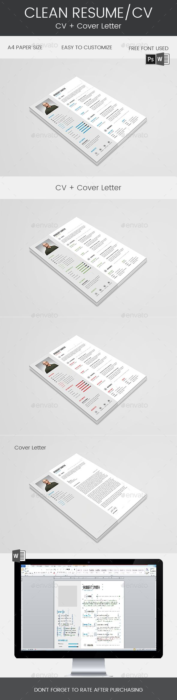 """Clean Resume & Cover Letter by Mohsin_kabir Description: """"Hello and Thank You for purchasing my file. If you need any help using it pleasefeel free to contact me via my Graph"""