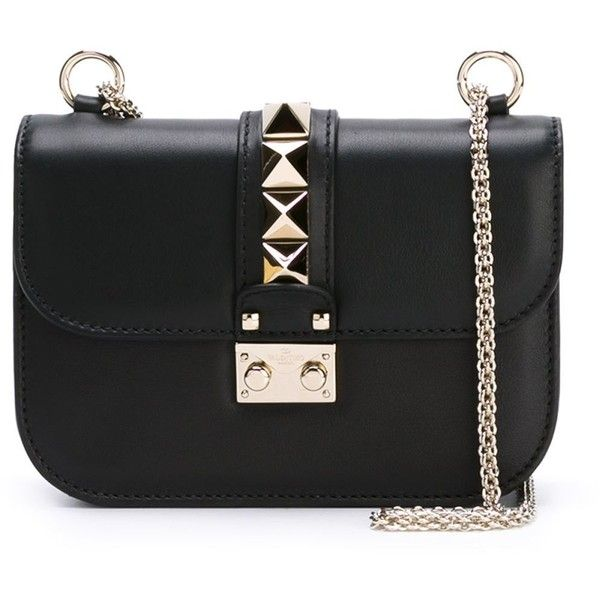 Valentino Garavani Rockstud Crossbody Bag ($1,535) ❤ liked on Polyvore featuring bags, handbags, shoulder bags, black, black purse, chain strap crossbody purse, black shoulder bag, shoulder handbags and valentino handbag