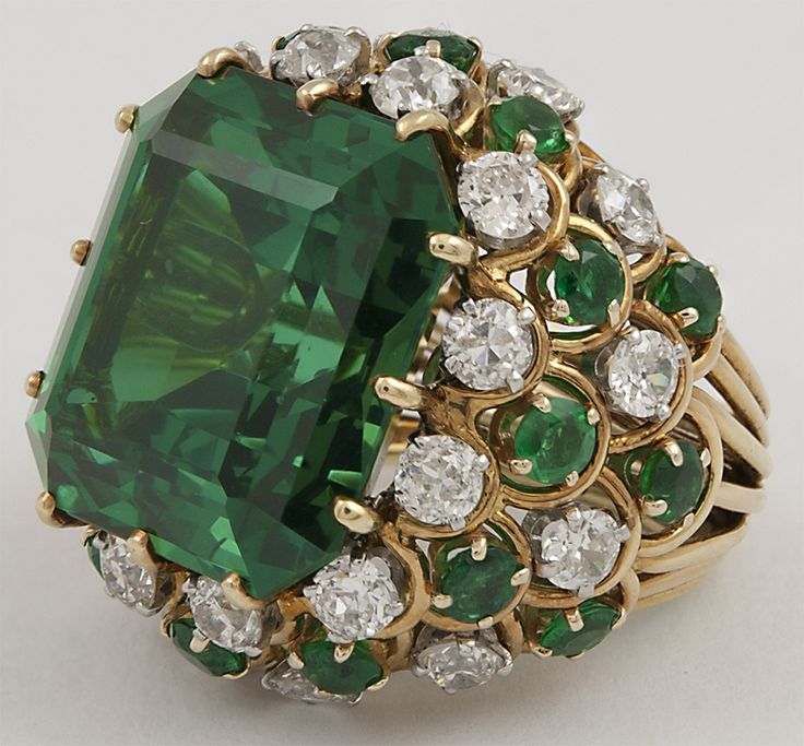 DAVID WEBB Two Tone Emerald Diamond Ring | From a unique collection of vintage dome rings at http://www.1stdibs.com/jewelry/rings/dome-rings/