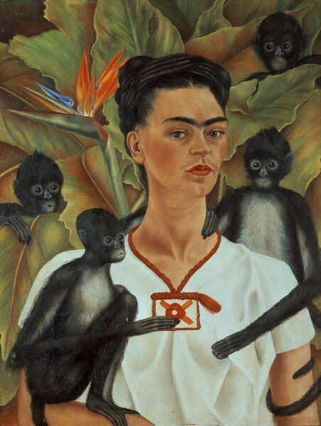 Frida Kahlo - autorretrato con monos - 1943 - óleo sobre tela - Courtesy the Guelman Collection - ©2015 Banco de México Diego Rivera & Frida Kahlo Museums Trust