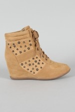 Speed-03 Studded Lace Up Round Toe Wedge Sneaker