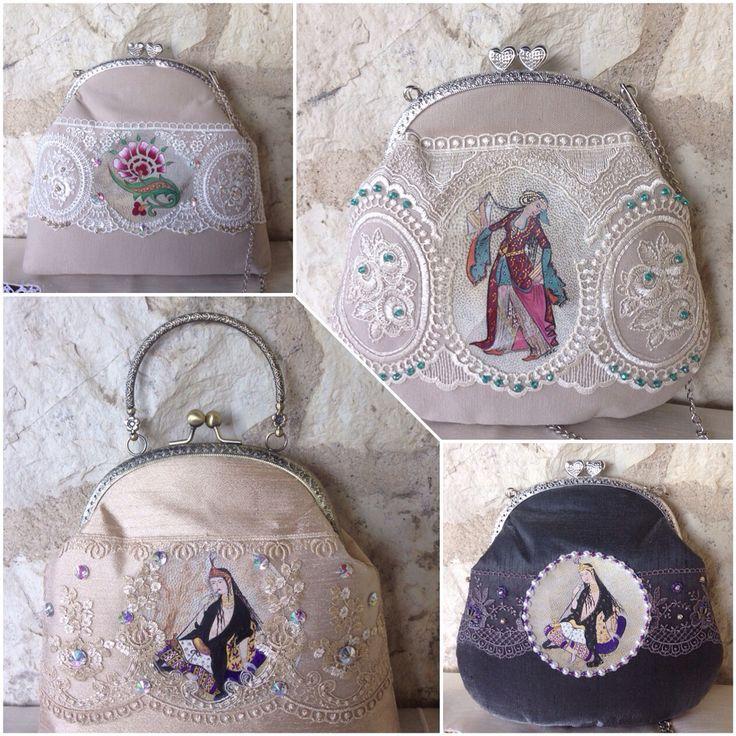 Romantic vintage style collection Handpainted leather detailed unique lace bags...Elde boyama deri detaylı, vintage stil, dantel ve boncuk işli çantalar...#handmade #chic #handpainted #lace #bag #çantam #dantelçanta #vintagestyle