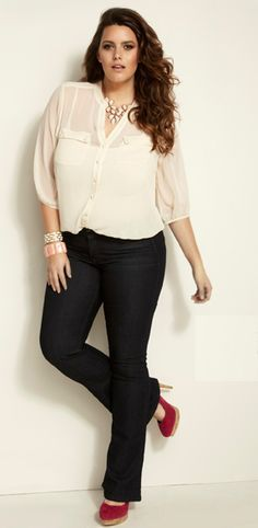Love this cosy fit jeans with a shirt and some heels - go to daytime into nighttime outfit!