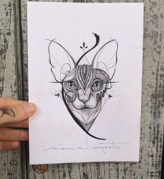Art tatouage feuille aquarelle originale et encre par CreatedInBCN