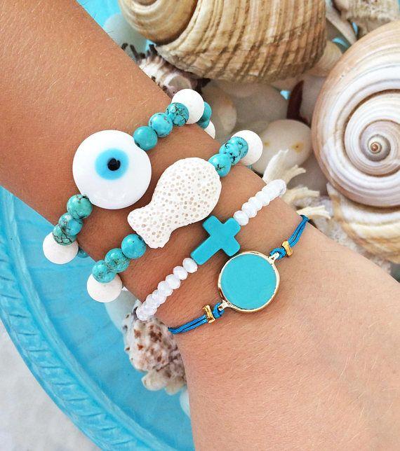 greek jewelry turquoise gemstone bracelet evil eye bracelet