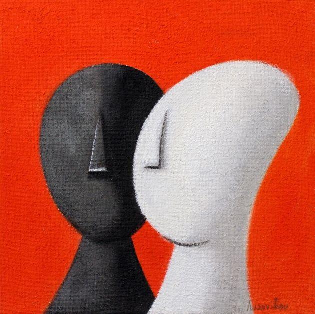 Η τριχρωμία της αγάπης - Πίνακας ζωγραφικής Κυκλαδικού χαρακτήρα