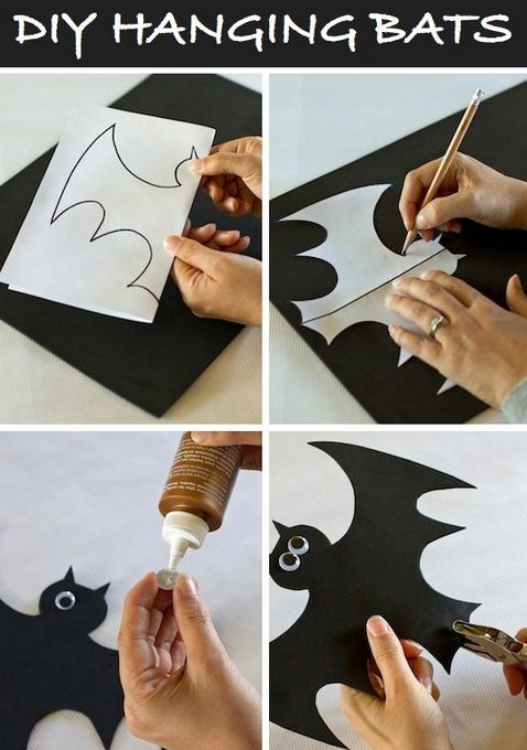 DIY Hanging Bats - 4 easy steps for making your very own paper bats - #halloween…