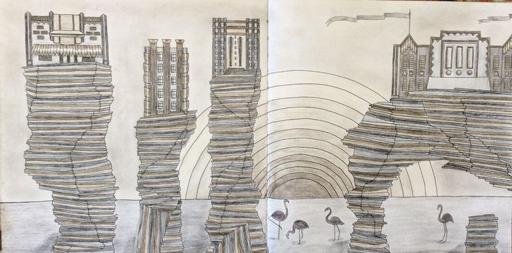 Dream Cities. A City of Stone. Coloured in greys by Prue.