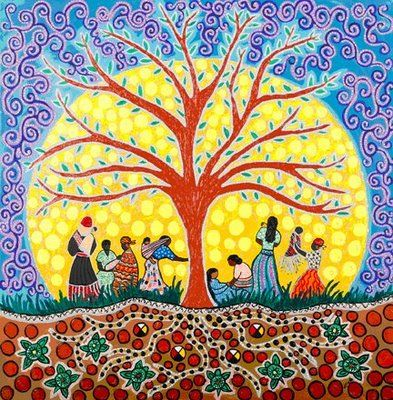 Givers of Life by Leah Dorion ; commissioned by The Society of Obstetricians and Gynaecologist of Canada.  The woman of many different cultures all stand under the sacred tree of life holding and nurturing babies.  The midwives and grandmothers are visually represented to acknowledge their important role in bringing forward new life and supporting the mother.  The roots of the sacred tree provide the women with strength and grounding and fortitude to stand strong....