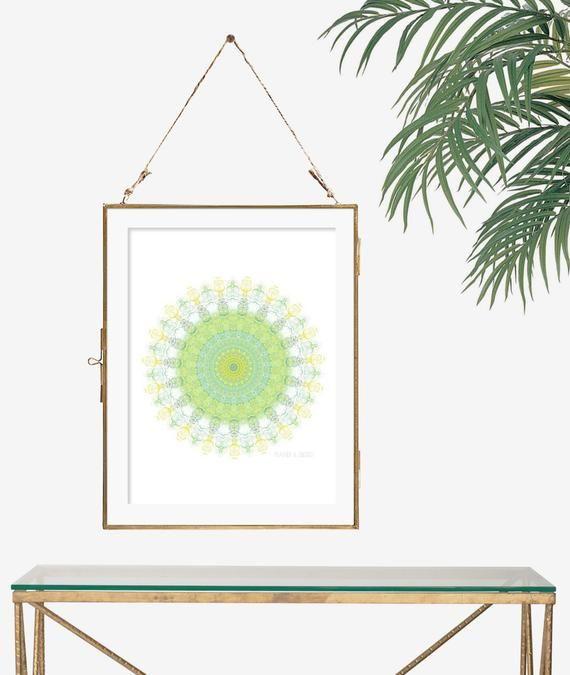 Bright color wall art geometric poster sacred geometry print yoga boho decor mint green decor yellow kitchen decor bedroom decor mandala art