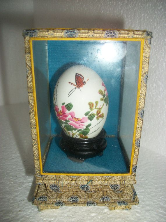 SALE wonderful vintage chinese hand painted egg with display case butterfly and flowers