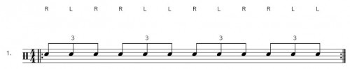 Single Paradiddle Diddle Drum Rudiment