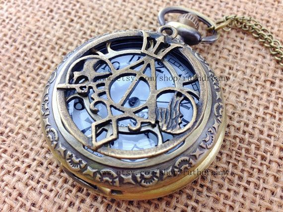 Harry Potter jewelry, The Mortal Instruments, Divergent and Percy Jackson bronze untique pocket watch necklace on Etsy, $6.99