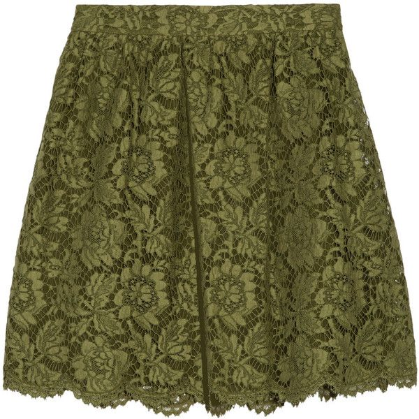 Valentino - Guipure Lace Mini Skirt ($893) ❤ liked on Polyvore featuring skirts, mini skirts, army green, olive green skirt, short lace skirt, lace miniskirt, scalloped mini skirt and green skirt