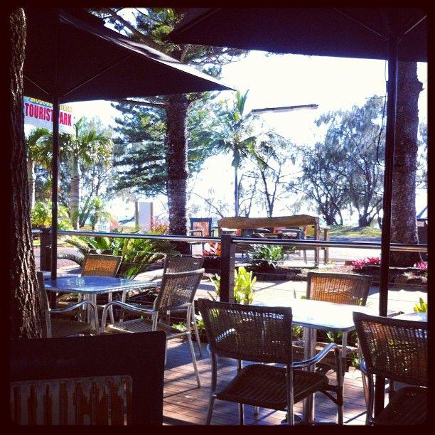 Breakfast at Woodgate in Queensland Australia. Miles of sandy beach is just behind those trees!