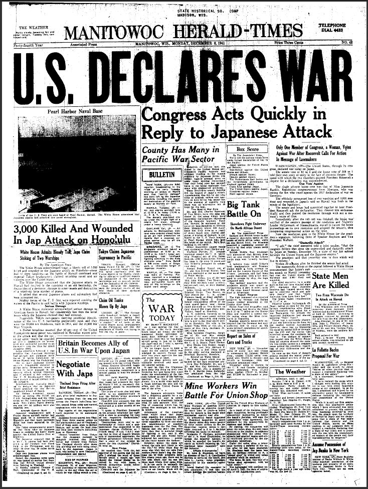 The attack on Pearl Harbor occurred on December 7, 1941, and it was a complete surprise, considering the U.S. had remained neutral in World War II. Pearl Harbor newspaper accounts described that shocking event for the record books and outlined how, within minutes of the Japanese attack, seven of eight battleships took major hits from bombs and torpedoes.