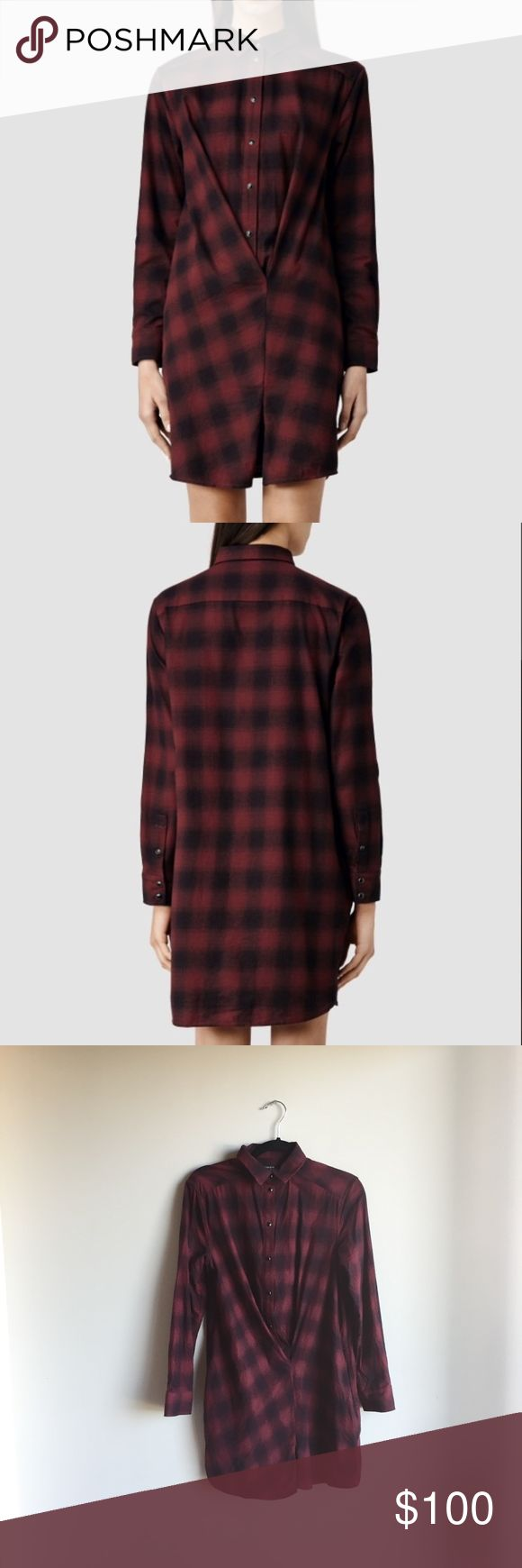 ALL SAINTS // kayla shirt dress I LOVE this flannel shirt dress. It's so cute with stockings and tall riding boots. Totally effortless and cool. Gently worn. Excellent condition.  *reasonable offers *no trades *no returns - please ask all questions before buying! All Saints Dresses
