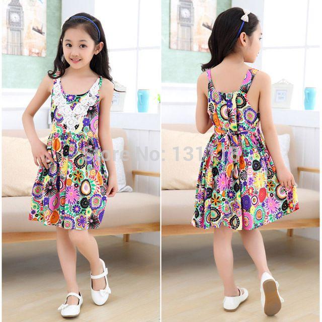 4-12 yaş 2015 yeni yaz çocuk elbise kız moda diz- uzunluğu plaj kız elbise kolsuz bohem çocuklar elbiseler kızlar