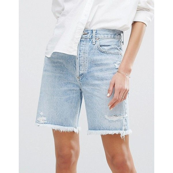 AGOLDE Jamie Hi Rise Cut Off Short (€205) ❤ liked on Polyvore featuring shorts, destroyed denim shorts, ripped shorts, ripped jean shorts, distressed denim shorts and cut-off jean shorts