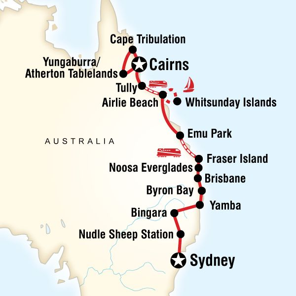 Map of East Coast Encompassed–Sydney to Cairns