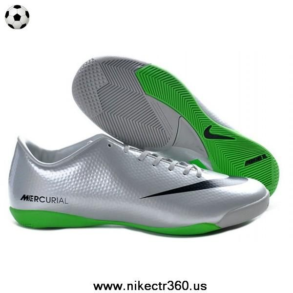 2013 New Nike Mercurial Victory IV IC Indoor Futsal Silver Green Black Football  Boots On Sale